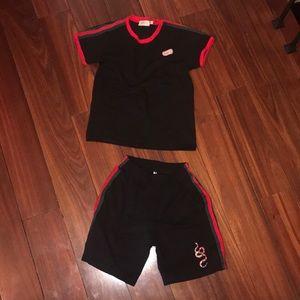 Boys 2pc Gucci knit shorts set. Size 8-10